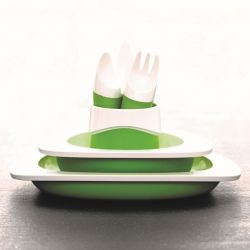 Set of Plate, Bowl, Cup & Kids Cutlery | Green