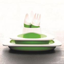 Teller, Schüssel, Tasse und Kinderbesteck | Grün