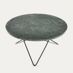 O Table | Green Marble/Black Steel