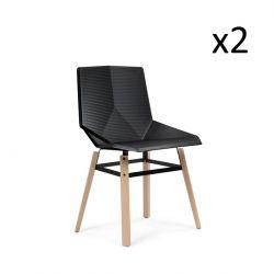 Esszimmerstuhl Green Eco | Schwarz | Holzbeine | 2er-Set