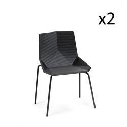 Chaise de salle à manger Green Eco | Noir | Pieds en métal | Lot de 2