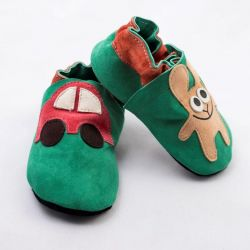 Green Rabbit with a Car Softsole Shoes