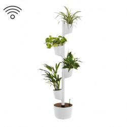 Smart Self-Watering Vertical Planter 4 Planters | Grey - Dark Wood