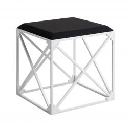 GRID Upholstered Stool | White