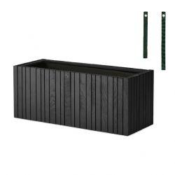 Coffret Balcon avec Pot pour Plantes GrowWide | Frêne Noir - Sangles Vertes