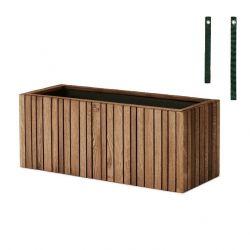 Coffret Balcon avec Pot pour Plantes GrowWide | Chêne Foncé - Sangles Vertes