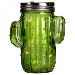 Cactus Lampion Jar | Green Glass