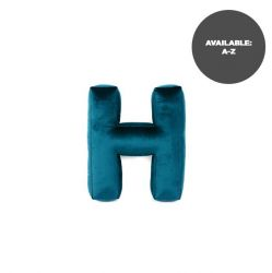 Cushion Letter Velvet Emerald | H