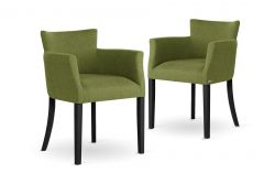 Armchair Santal Set of 2 | Black Legs & Green