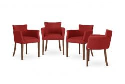 Armchair Santal Set of 4 | Brown & Red