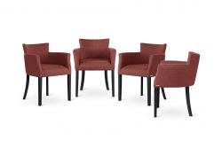 Armchair Santal Set of 4 | Black & Brick Red