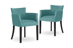 Armchair Santal Set of 2 | Black Legs & Turquoise