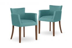 Armchair Santal Set of 2 | Brown & Light Blue