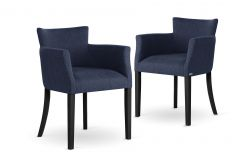 Armchair Santal Set of 2 | Black Legs & Navy Blue
