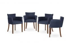 Armchair Santal Set of 4 | Brown & Blue