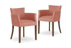 Armchair Santal Set of 2 | Brown & Coral Pink