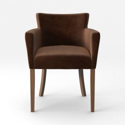 Armchair Santal Velvet Touch | Brown Legs & Dark Brown