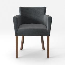 Armchair Santal Velvet Touch | Brown Legs & Light Grey