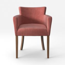 Armchair Santal Velvet Touch | Brown Legs & Powder Pink
