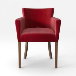 Armchair Santal Velvet Touch | Brown Legs & Red