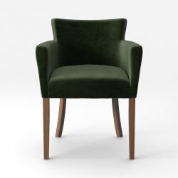 Armchair Santal Velvet Touch | Brown Legs & Dark Green