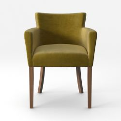 Armchair Santal Velvet Touch | Brown Legs & Olive Green