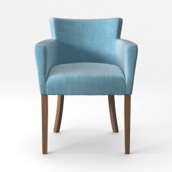 Armchair Santal Velvet Touch | Brown Legs & Light Turquoise