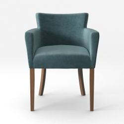 Armchair Santal Velvet Touch | Brown Legs & Grey Green