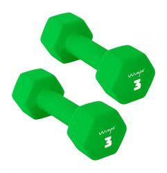 Set of 2 Neoprene Dumbbells 3 kg | Green