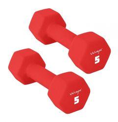 Set of 2 Neoprene Dumbbells 5 kg | Red