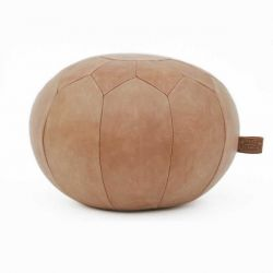 Hudson Round Caramel Leather Pouf