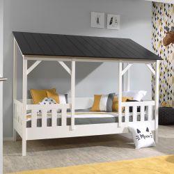 Hausbett | Weiß + Schwarzes Dach | 3 Paneele