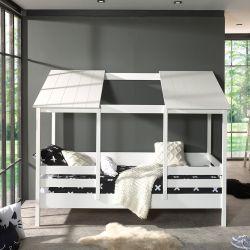 Hausbett | Weiß + Weißes Dach | 2 Paneele