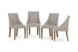 Set de 4 Chaises Absolu | Beige & Pieds Marron