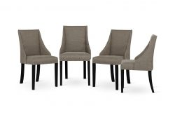 Set of 4 Armchairs Absolu | Black Legs | Hazelnut Grey Backrest