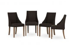 Set of 4 Armchairs Absolu | Brown Legs | Dark Brown Backrest