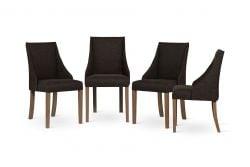 Sessel Absolu | Braune Beine | Dunkelbraune Rückenlehne | 4er-Set
