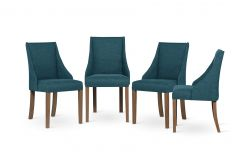 Set of 4 Armchairs Absolu | Brown Legs | Turquoise Backrest
