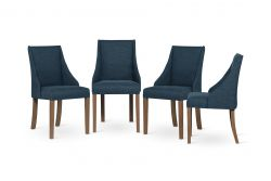 Set of 4 Armchairs Absolu | Brown Legs | Petrol Blue Backrest