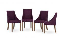 Set de 4 Chaises Absolu | Fuchsia & Pieds Marron