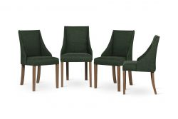 Set of 4 Armchairs Absolu | Brown Legs | Dark Green Backrest