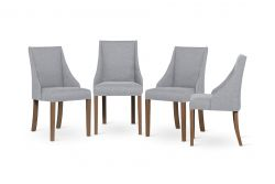 Set of 4 Armchairs Absolu | Brown Legs | Light Grey Backrest