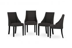 Set of 4 Armchairs Absolu | Black Legs | Anthracite Backrest