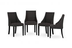 Sessel Absolu | Schwarze Beine | Anthrazit Rückenlehne | 4er-Set