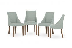 Set of 4 Armchairs Absolu | Brown Legs | Mint Green Backrest