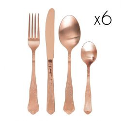 Retro' Cutlery Copper Shiny | Set of 24