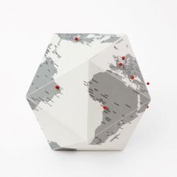 Globe Here with City Names | Grey