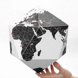 Weltkugel Hier Ländernamen | Schwarz