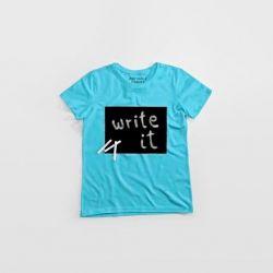 """Cotton Twitter"" Writable T-shirt Women | Turquoise"