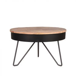 Table de Salon Saria Ø 80 cm | Bois & Noir